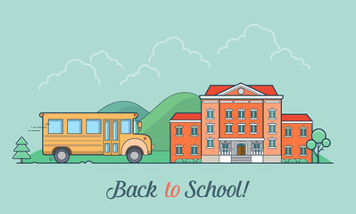 Linear Flat school bus and building facade vector illustration