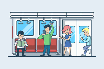Linear Flat people railway carriage vector Transportation mobile