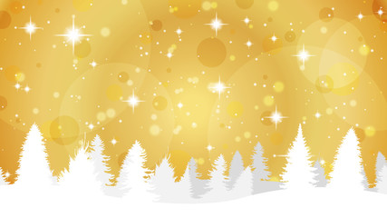 Gold Christmas Background with Snow Covered Trees