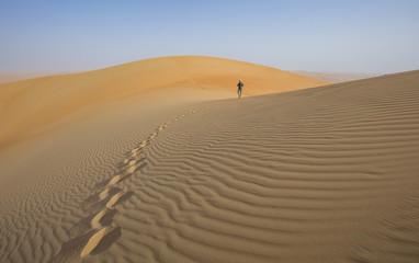 Person walking in a desert dunes