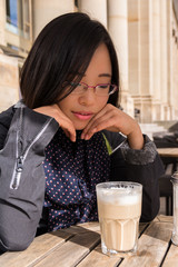 Beautiful Asian Girl Portrait Cafe Drinking Coffee Customer Rest