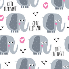 seamless elephant pattern vector illustration