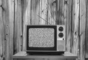 Vintage Television with Rustic Wood Wall and Static Screen in Black and White