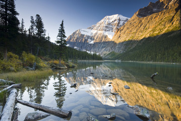 Mount Edith Cavell and Cavell Lake, Jasper National Park, Canada