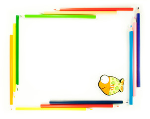 Frame of pencils with fish