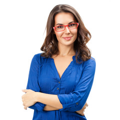 Young cheerful businesswoman in glasses, isolated