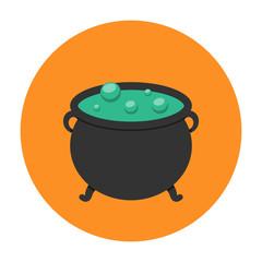 Witch cauldron icon flat