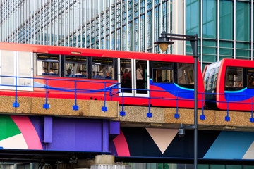 Docklands Light Railway in Canary Wharf, London
