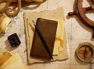 Ship's journal and navigational equipment