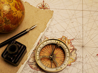 Vintage compass and journal