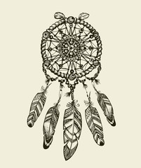 Hand drawn dreamcatcher with feathers. Vintage Indian amulet  ethnic patterns