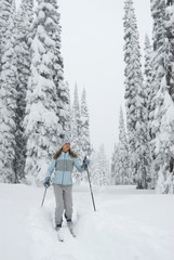 A young woman cross-country skier makes tracks in the Monashee backcountry, British Columbia