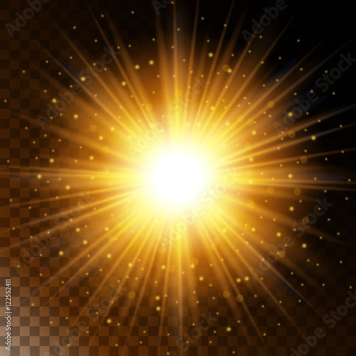 set of glowing light effect star the sunlight warm yellow glow with