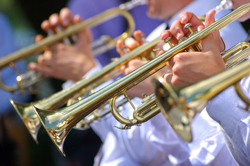 Trumpets in orchestra