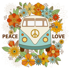 Hippie vintage car a mini van. Ornamental background. Hippy color vector illustration. Hand drawn image. The popular bus model of the hippie movement.