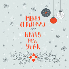 Merry Christmas text with baubles. Greeting card template.Merry Christmas  poster with quote. T-shirt design, card design or home decor element. Vector typography