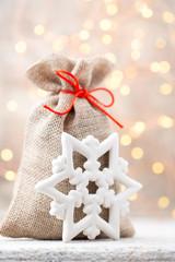 Christmas linen bag for gifts with christmas toys. Christmas De