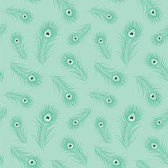 Peacock feather monochrome seamless pattern. Vector illustration