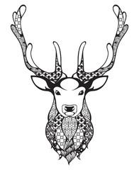 Ornamental patterned head of the antlered deer