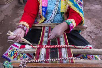 Traditional weaving, Pisac, Peru