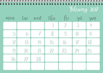 Desk calendar horizontal template 2017 for month February. Week starts Monday