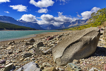 Boulder on Lake Sherburne in Glacier National Park