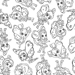 vector elf fairy girl seamless pattern