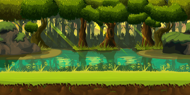 Seamless spring forest landscape, never ending vector nature background with separated layers for game design
