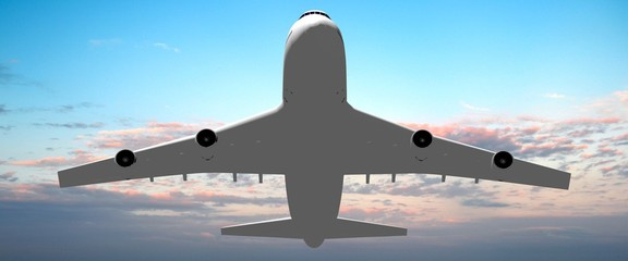 3D passenger jet plane flying in the air - great for topics like aviation, flight, transportation etc.