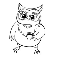 vector owl coloring page
