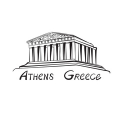 Travel Greece sign. Athens famous landmark building with hand drawn lettering Athens, Greece.