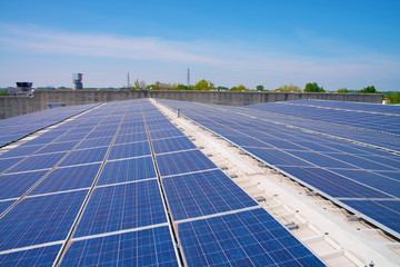 Solar cells on the roof of a factory