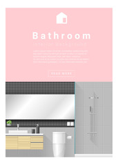Interior design Modern bathroom banner , vector, illustration