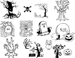 Halloween's icons - pumpkin, scary trees, ghost, cemetery, black cats, crosses
