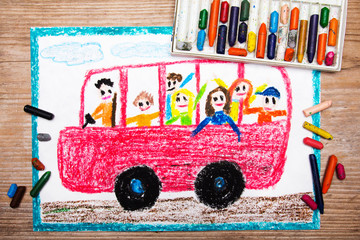 Colorful drawing - red school bus with happy children inside