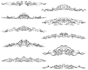 Calligraphic design elements, ornate border frames, text divider, swirl, scroll