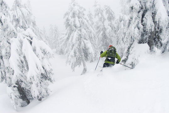 man skis down Hollyburn Mountain. Cypress Bowl, West Vancouver, British Columbia, Canada.