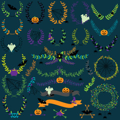 Vector Collection of Spooky Halloween Laurels, Wreaths and Floral Elements