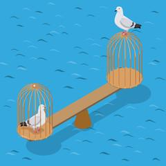 Flat isometric doves scales birdcage vector 3d Captivity Freedom