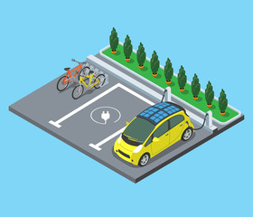 Flat isometric Parking bicycle electro cars vector 3d services.