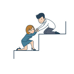 Linear Fla tBusiness teamwork man help woman climb stair vector