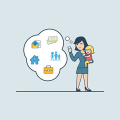 Linear Flat business woman holding baby phone chat babble vector