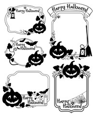 Set of silhouette frames with Halloween pumpkin. Vector clip art.
