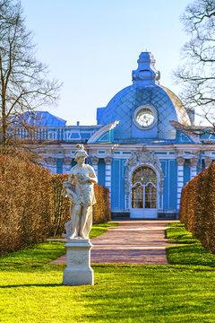 "he Apollo Sculpture in Tsarskoye Selo.Pavilion ""Grotto"" in the C"