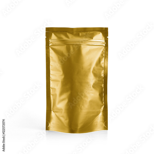 gold foil plastic pouch coffee bag isolated on white background