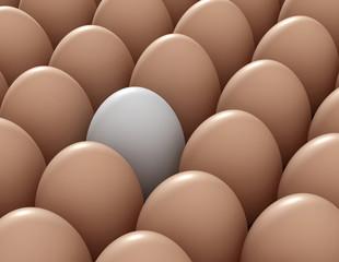 different white egg  3d illustration