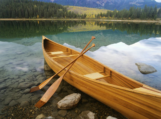 Canoe on Patricia Lake, Jasper National Park, Alberta, Canada.