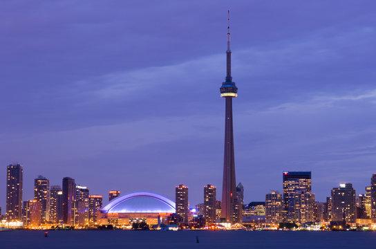 Skyline view from Toronto Islands at twilight, Toronto, Ontario, Canada