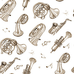 Watercolor copper brass band music pattern