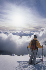 Man back country skiing on Mount Mackenzie, Revelstoke, British Columbia, Canada.